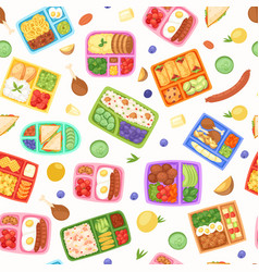 Lunch boxes with food seamless pattern vector