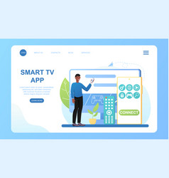 Male character is using smart tv on big display vector