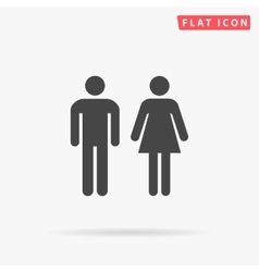 man and woman simple flat icon vector image