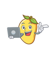 Mango character cartoon mascot with laptop vector