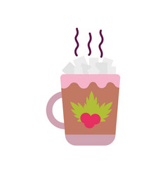 Merry christmas celebration hot chocolate cup with vector