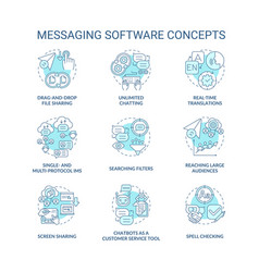 Messaging software blue concept icons set vector