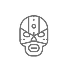 mexican fighter mask wrestler line icon vector image