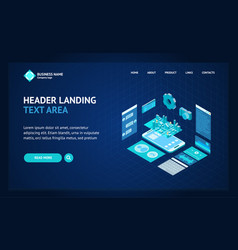 mobile phone concept landing web page template 3d vector image