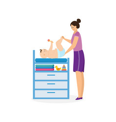 Mother changing diaper to her baby child flat vector
