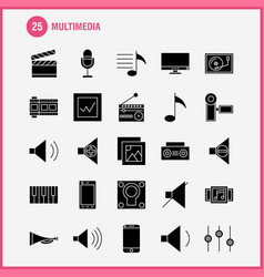 Multimedia solid glyph icon for web print and vector