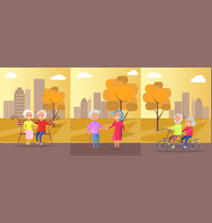 old people in park banner of mature couples vector image