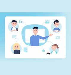 online distance school teacher and students vector image