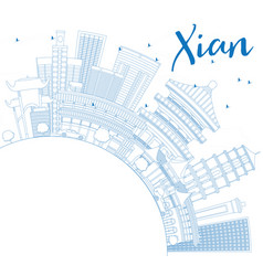 Outline xian skyline with blue buildings and copy vector