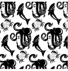 pattern with hand drawn female profile vector image
