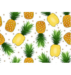 pineapple seamless pattern on white background vector image