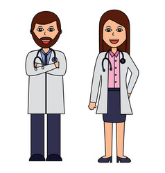 professionals couple of doctor hospital staff vector image