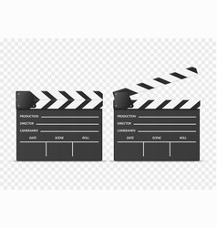 realistic 3d detailed clapper boards set vector image