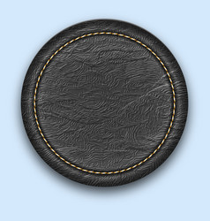 Round leather stitched label realistic black tag vector