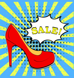 Sale shoes banner in comic book pop art style vector
