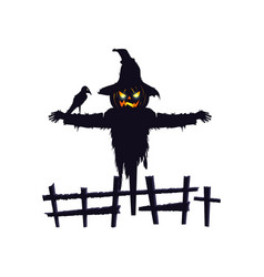 Scarecrow halloween with raven isolated icon vector