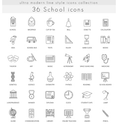 school ultra modern outline line icons vector image