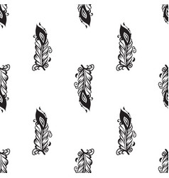 seamless pattern with drawing of feathers vector image