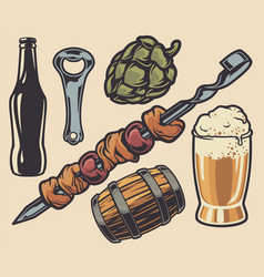 set elements on theme barbecue and beer vector image