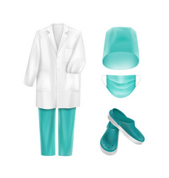set of medical uniform clothes accessories vector image