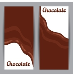 Set of vertical banners with chocolate flow vector