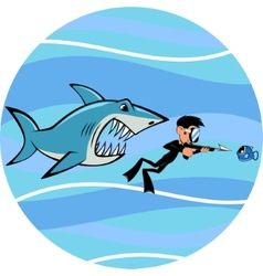Shark and diver vector image