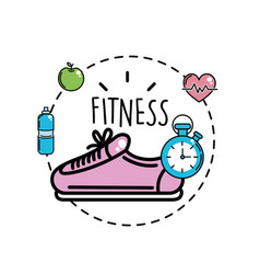 Shoes with choronometer and healthy tools icons vector