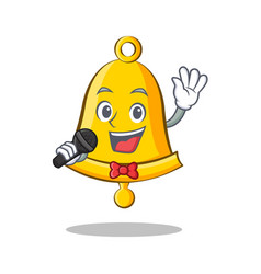 Singing school bell character cartoon vector