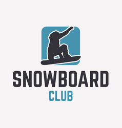 snowboard club logo template with snowboarder vector image