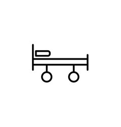 Stretcher bed on wheels icon on white background vector