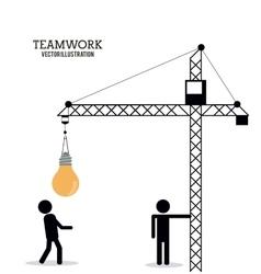 Teamwork support crane pictogram design vector