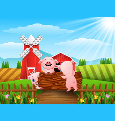 Three little pigs playing logs vector
