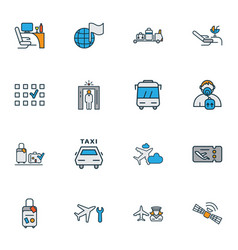 transportation icons colored line set with flight vector image