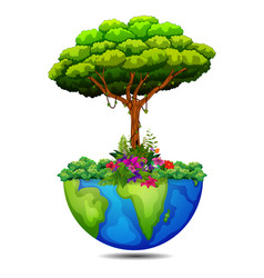 Tree on the earth vector