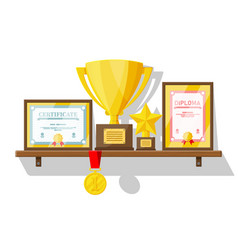 trophy and awards collection on wooden shelf vector image