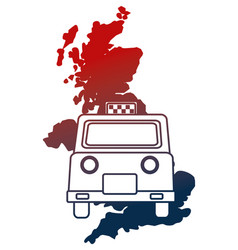 United kingdom map and taxi vehicle vector