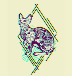 Vintage cat tattoo design vector