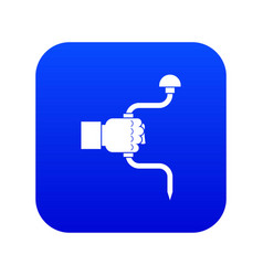 Vintage hand drill in man hand icon digital blue vector