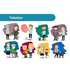 Volunteer characters big set vector
