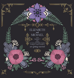 wild flowers wedding invitation design vector image
