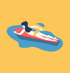 woman swimming on her surfboard flat cartoon vector image