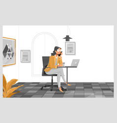 woman working with laptop at her work desk vector image