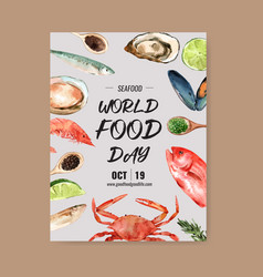 World food day poster design with shell fish crab vector