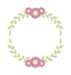 wreath flowers leaves vector image