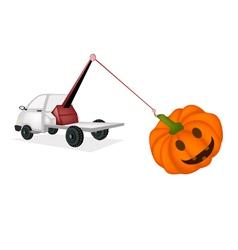 Wrecker Tow Truck Pulling A Jack-o-Lantern Pumpkin vector