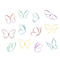Butterflies color silhouettes vector image vector image
