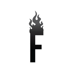 fire burn initial letter alphabet vector image vector image