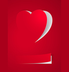 red heart card on red for design vector image vector image