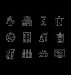 research laboratory flat white line icons vector image vector image