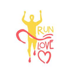 Run love logo symbol colorful hand drawn vector